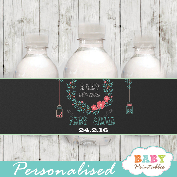 coral mint green floral custom mason jar water bottle labels