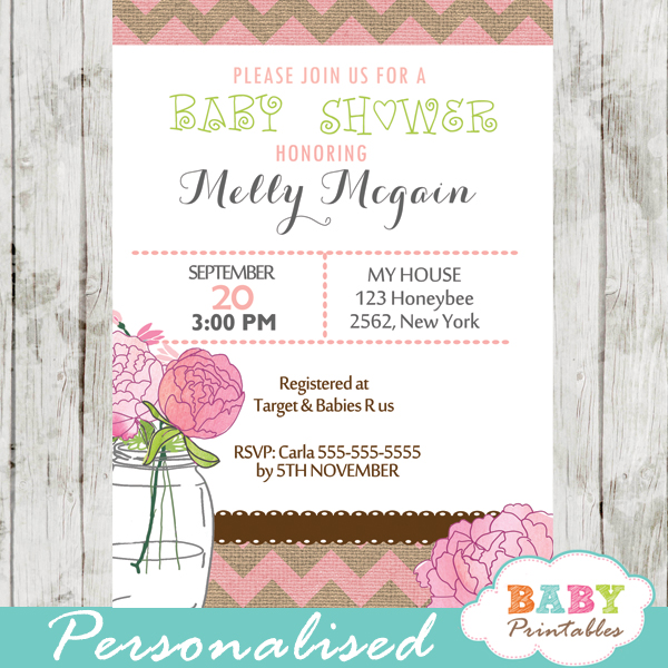 rustic pink burlap mason jar baby shower invitations