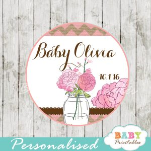 rustic pink burlap custom mason jar labels