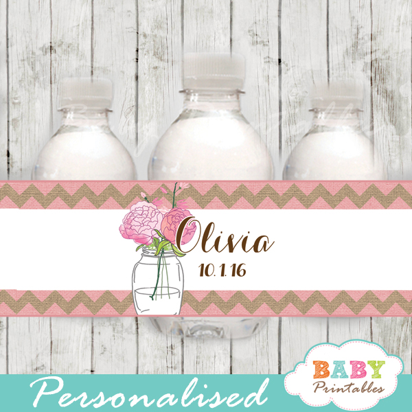 pink burlap floral custom mason jar water bottle labels