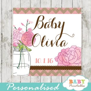 pink burlap floral mason jar custom baby shower labels