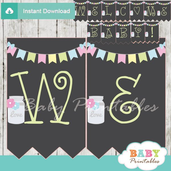 modern chalkboard mason jar personalized baby shower banner