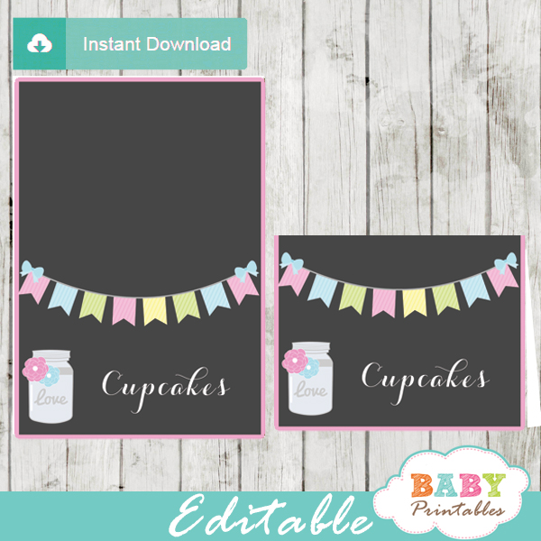 bunting floral mason jar baby shower food labels