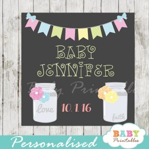 floral bunting custom mason jar labels