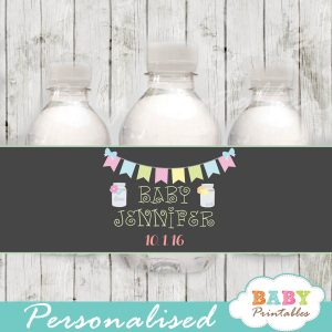 chalkboard bunting floral custom mason jar water bottle labels