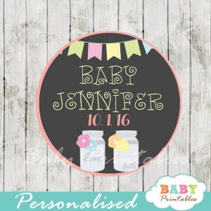 bunting floral mason jar custom baby shower labels