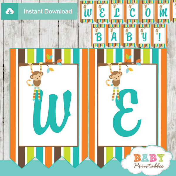 Baby Shower Custom Banners: Monkey Themed Baby Shower Banner