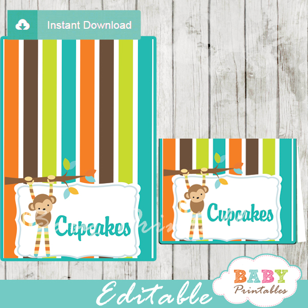 monkey baby shower food labels