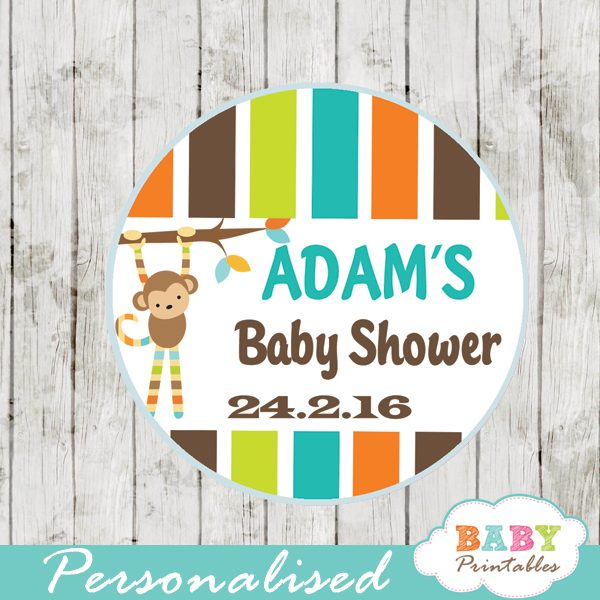 monkey personalized baby shower favor tags