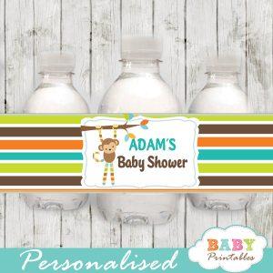 monkey personalized baby shower water bottle labels