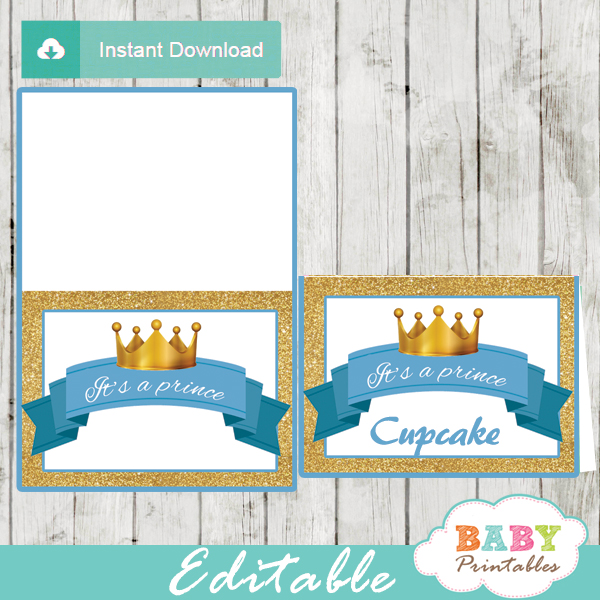 royal blue and gold baby shower food labels