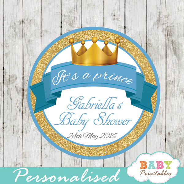 gold royal blue prince personalized baby shower favor tags