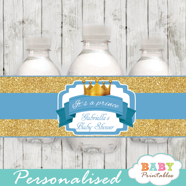 Blue And Gold Royal Prince Personalized Bottle Labels D270 Baby