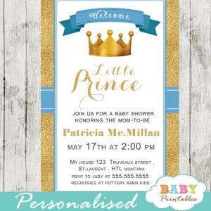 royal blue and gold little prince baby shower invitations