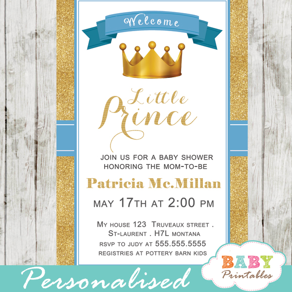 Blue and gold royal prince baby shower invitation d270