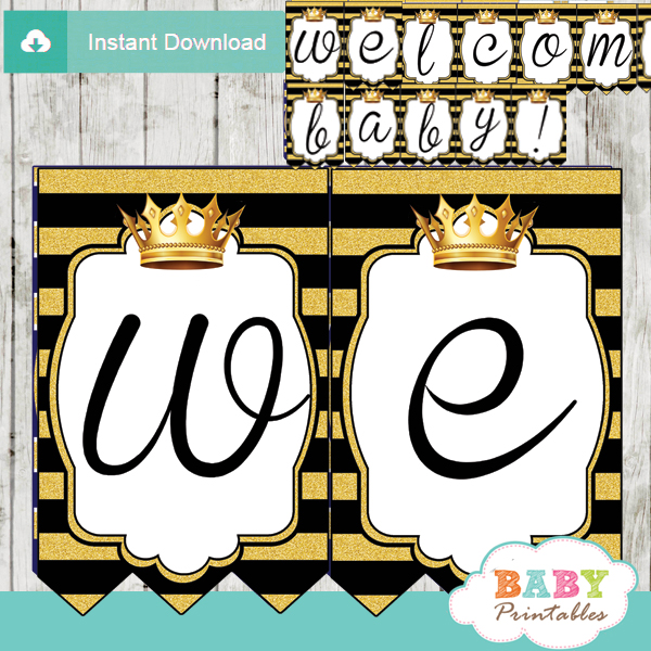personalized royal themed baby shower banner diy