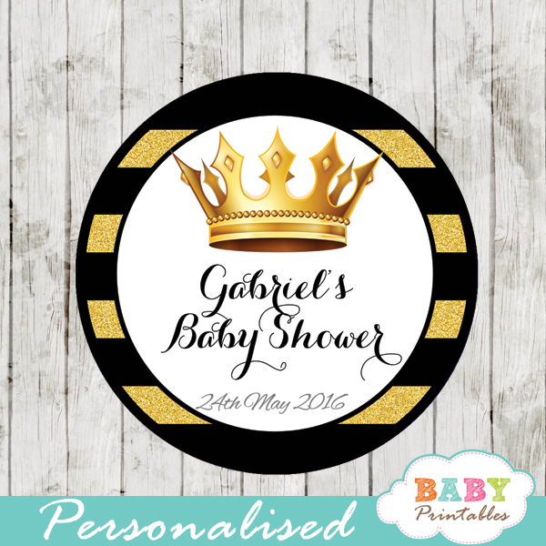 black gold royal crown personalized baby shower favor tags