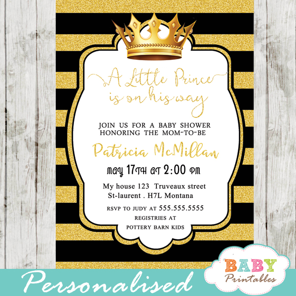 Black And Gold Royal Prince Baby Shower Invitation D271 Baby