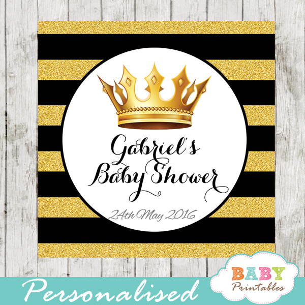 Black And Gold Royal Prince Personalized Square Labels D271 Baby