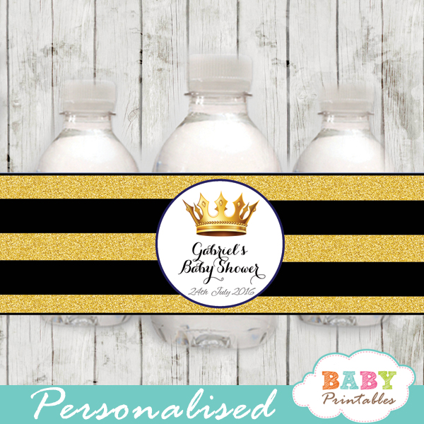 Black And Gold Royal Prince Personalized Bottle Labels D271 Baby