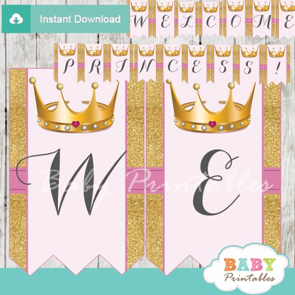 personalized princess baby shower banner diy