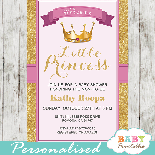 royal princess baby shower invitations