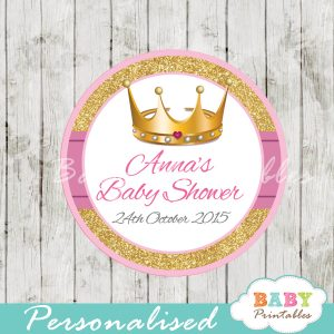 pink and gold royal princess personalized baby shower favor tags