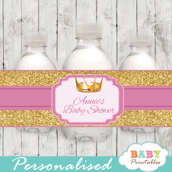 Pink And Gold Royal Princess Personalized Bottle Labels