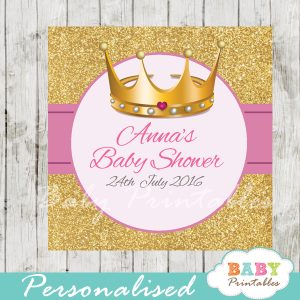 princess printable baby shower gift tags