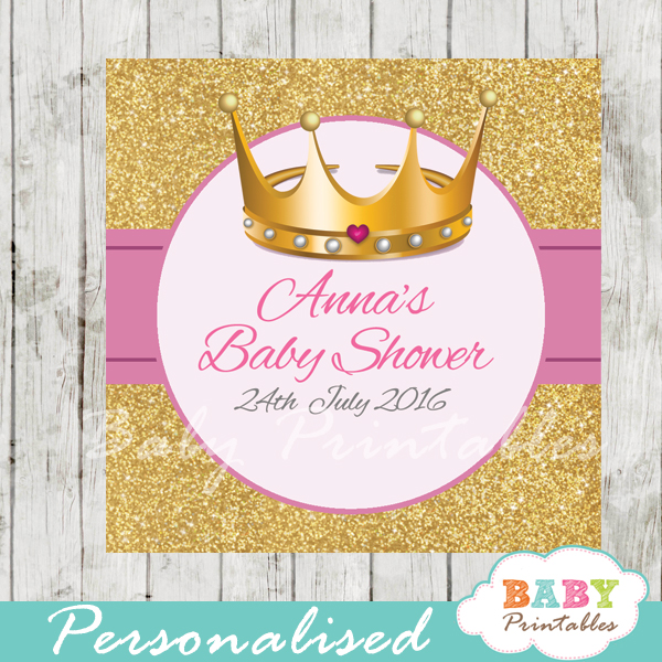 princess printable baby shower gift tags