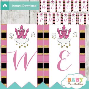 personalized pink princess baby shower banner diy
