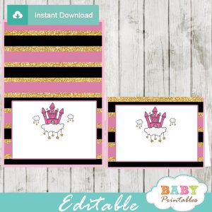pink princess baby shower food labels