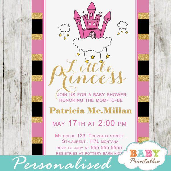 pink princess baby shower invitations