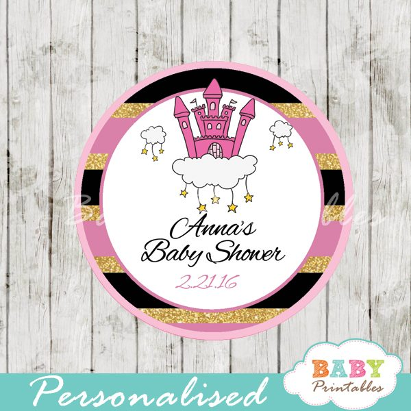 pink princess castle personalized baby shower favor tags