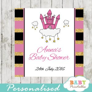 pink princess printable baby shower gift tags
