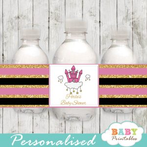 baby girl pink princess personalized baby shower water bottle labels