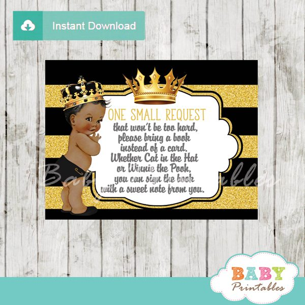 black and gold african american prince baby shower book request invitation inserts
