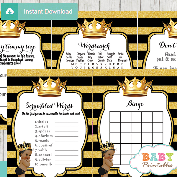 african american prince royal theme unique baby shower games