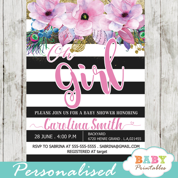 Pink floral baby shower invitations black and white stripes d301 floral themes spring baby shower invitations pink flowers black and white striped filmwisefo