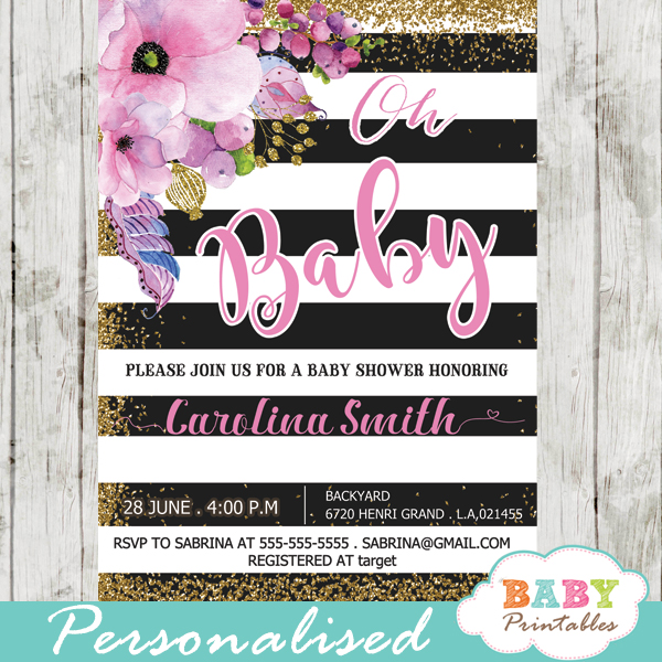 Gold Glitter Fl Themes Spring Baby Shower Invitations Pink Flowers Black And White Striped