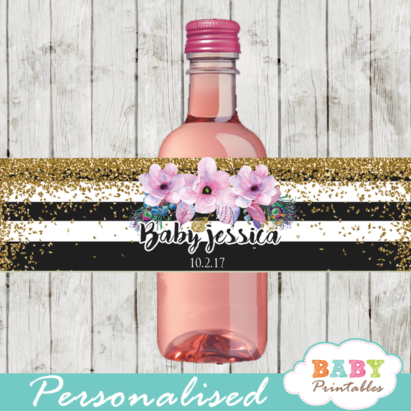 pink watercolor flowers black white striped water bottle wrappers gold glitter
