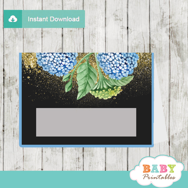 blue hydrangea floral baby shower food labels table decoration