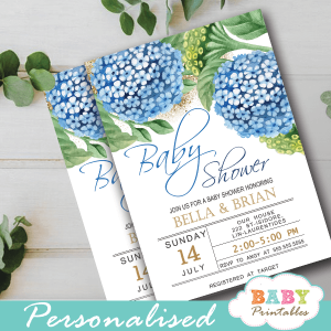 blue hydrangea floral baby shower invitations spring flowers greenery gold glitter boy