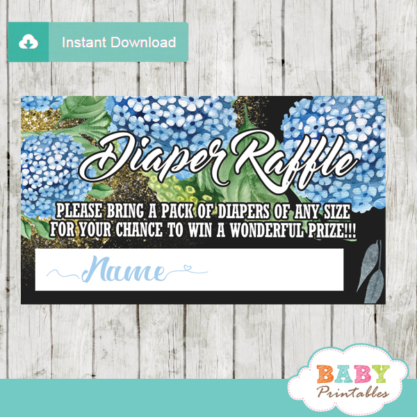 blue Hydrangeas flowers purple floral diaper raffle tickets gold sprinkles