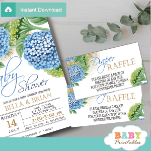 blue hydrangea floral diaper raffle tickets spring flowers greenery gold glitter boy