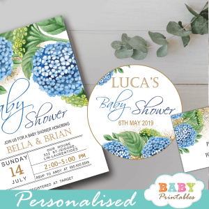custom baby shower favor tags watercolor blue hydrangea floral toppers gold sparkle boy greenery