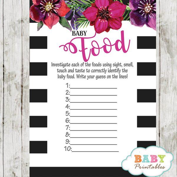 watercolor fuchsia floral baby shower games black white stripes spring garden theme