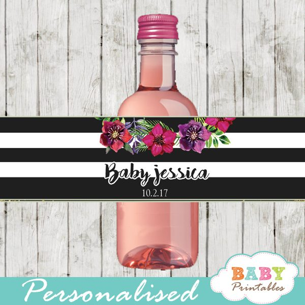 fuchsia watercolor flowers black white striped water bottle wrappers gold glitter