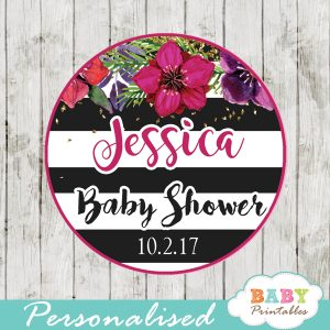 custom baby shower favor tags fuchsia purplish red floral watercolor black white striped toppers