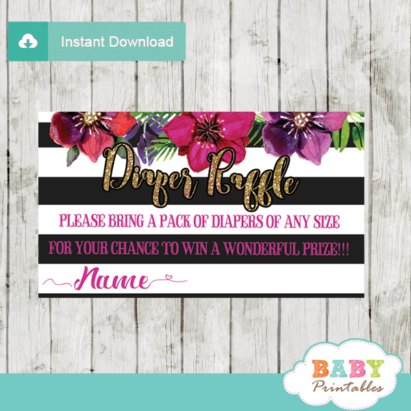 watercolor flowers fuchsia floral diaper raffle tickets black and white stripes